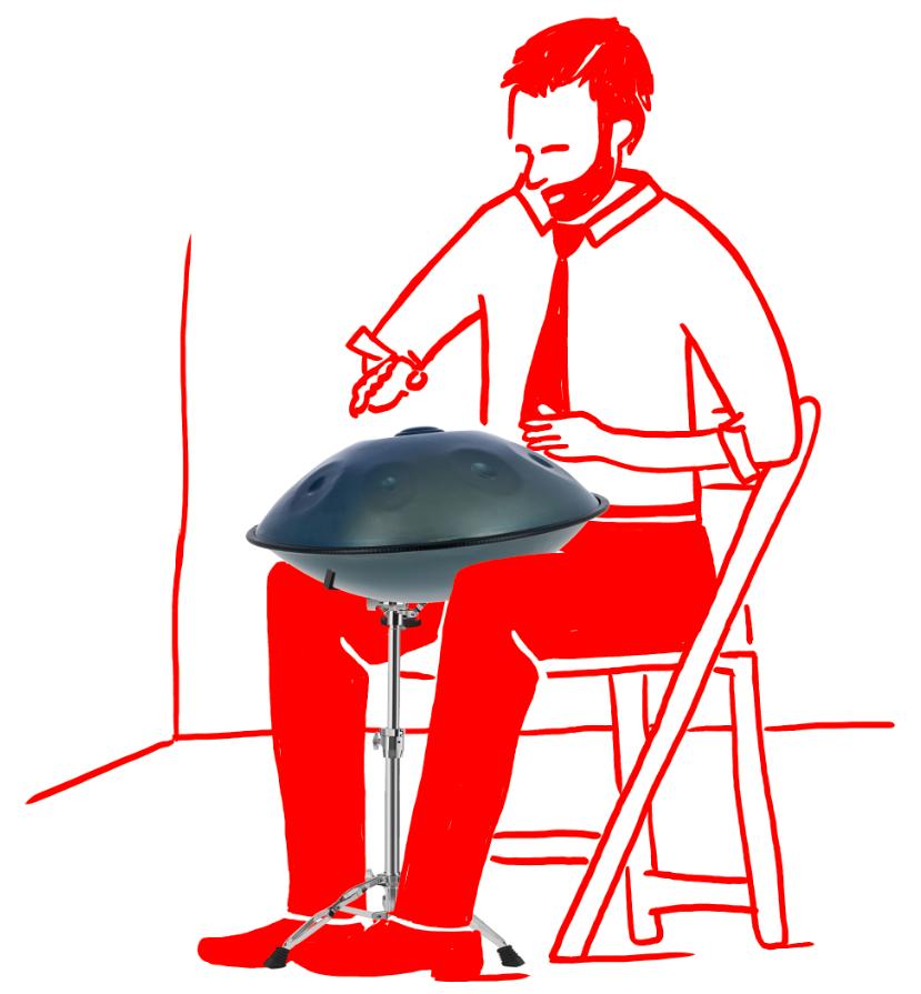 Geschäftsmnn spielt Handpan Handpanspieler Mann in Kravatte spielt Handpan