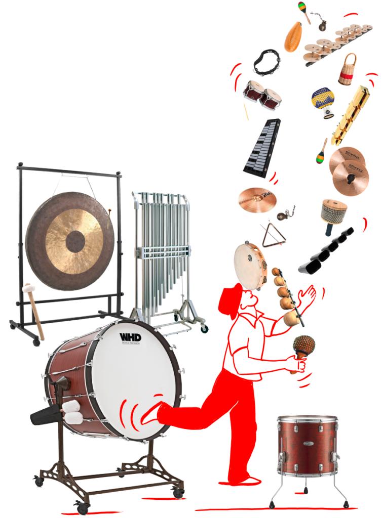 Spieler jongliert mit Perkussionsinstrumente: Gong, Grosse Trommel, Röhrenglocken, Glockenspiel Bongo, Cabasa, Holzblock, Becken, Guiro, Shaker, Grotales, Triangel, Castagneten, Cow Bells, Schellen