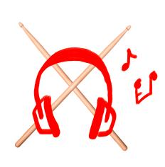 Kopfhörer mit Schlagzeug Sticks Kreuz
