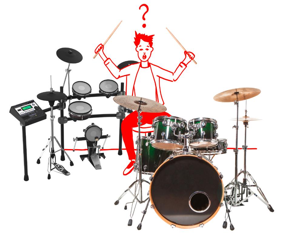 Schlagzeuger zwischen akustischem Schlagzeug und E-Drum.  Welches passt?