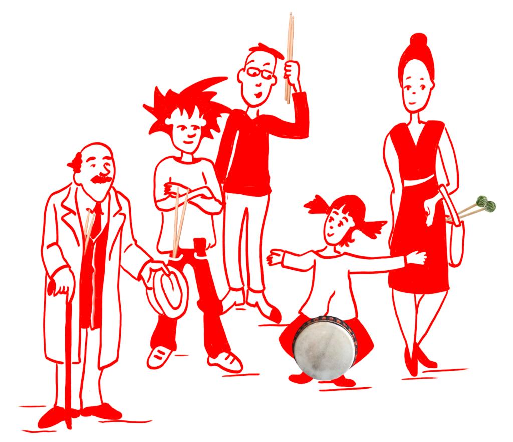 Frau mit Mallets, Mädchen mit Djembé Mann mit Sticks in der Hand, Junge mit Sticks in der Tasche. alter Mann mit Stick in der Mantelinnen Tasche