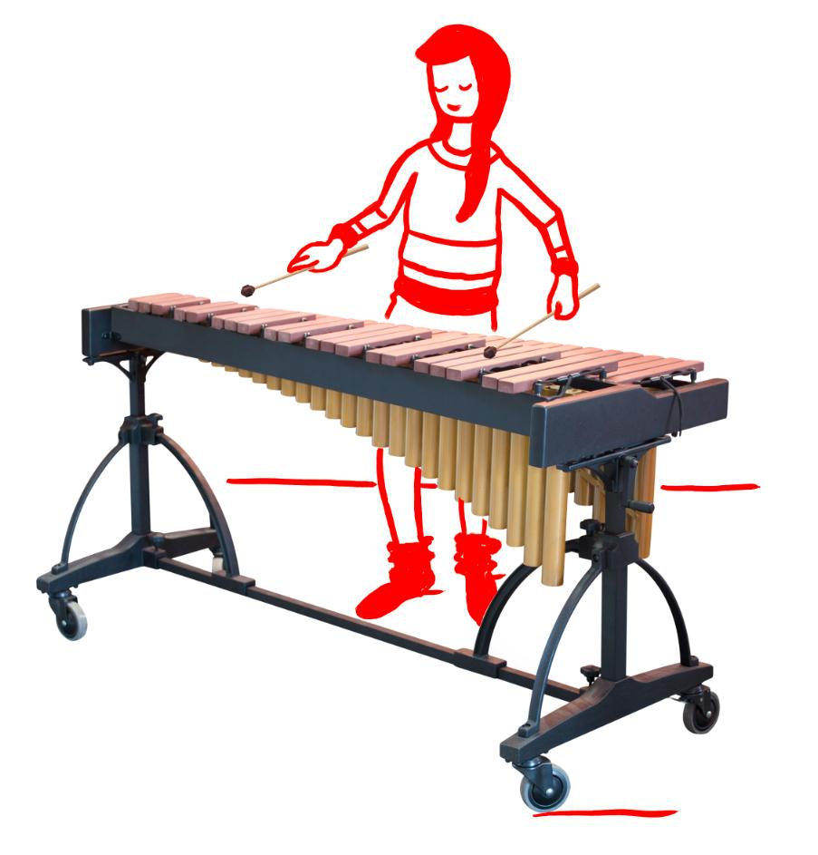 Junge Frau am Xylofon Xylofonspielerin